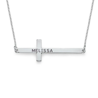 Engraved Silver Sideways Cross Necklace - Name My Jewelry ™