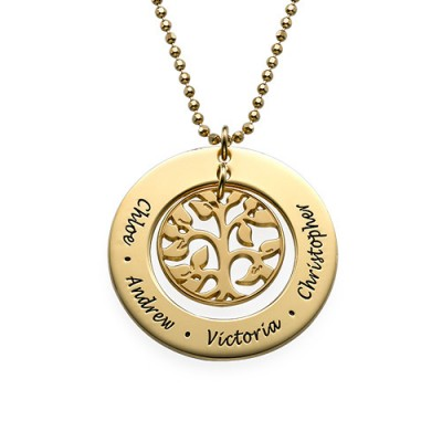 Present for Mum - Gold Plated Family Tree Necklace - Name My Jewelry ™