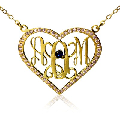 Birthstone Heart Monogram Necklace 18ct Gold Plated  - Name My Jewelry ™