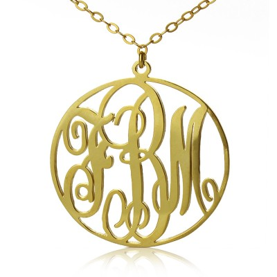 18ct Gold Plated Circle Initial Monogram Necklace - Name My Jewelry ™