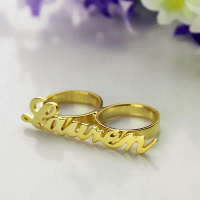 Custom Allegro Two Finger Nameplated Ring 18ct Gold Plated - Name My Jewelry ™