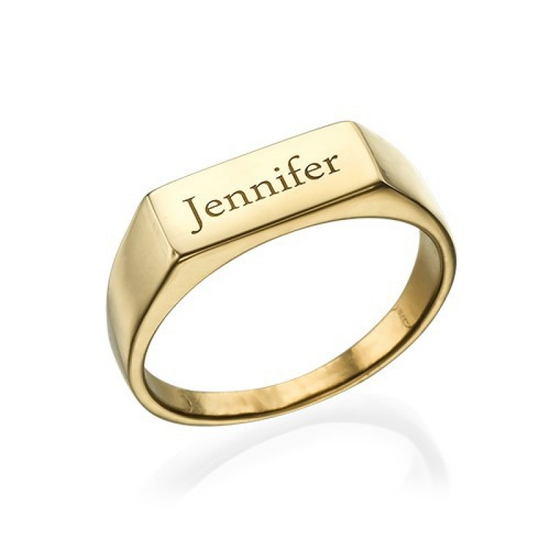 Gold Plated Engraved Signet Ring Name My Jewelry