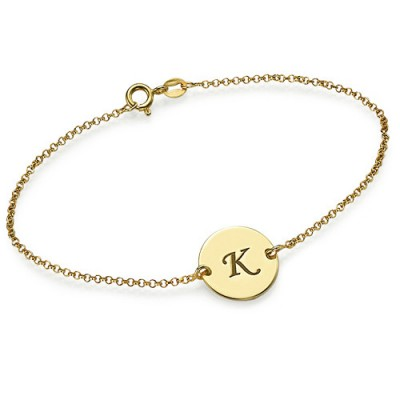 Engraved 18ct Gold Plated Disc Bracelet/Anklet - Name My Jewelry ™
