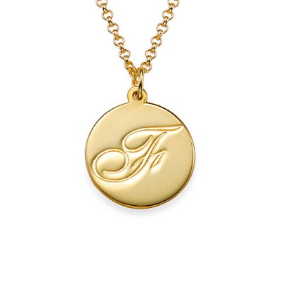 18ct Gold Plated Initial Pendant with Script Font - Name My Jewelry ™
