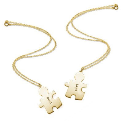 18CT Gold Plated personalized Couple's Puzzle Necklace - Name My Jewelry ™