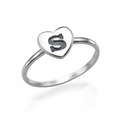 Heart Initial Ring in Sterling Silver - Name My Jewelry ™