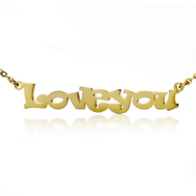 Cute Cartoon Ravie Font 18ct Gold Plated Name Necklace - Name My Jewelry ™