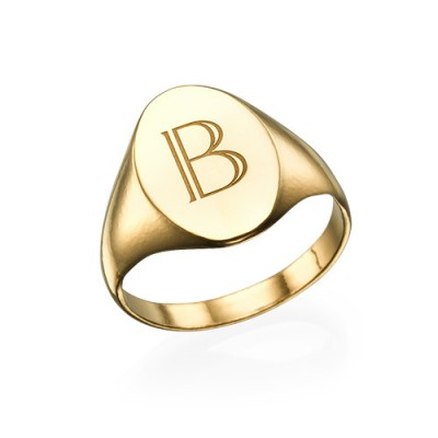 Initial Signet Ring - 18ct Gold Plated - Name My Jewelry ™