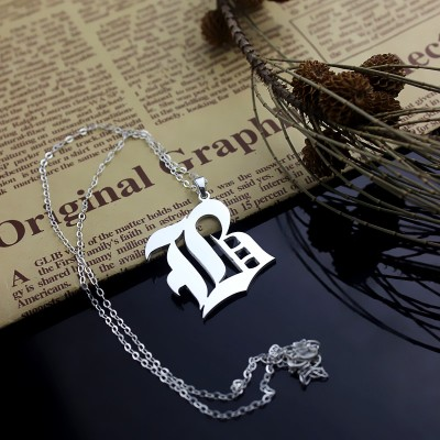 personalized Initial Letter Charm Old English Sterling Silver - Name My Jewelry ™