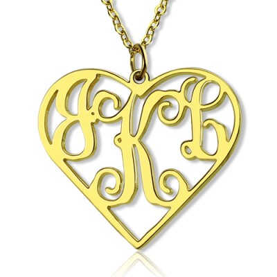 18ct Gold Plated Silver 925 Initial Monogram personalized Heart Necklace-Single Hook - Name My Jewelry ™