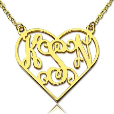 Cut Out Heart Monogram Necklace 18ct Gold Plated - Name My Jewelry ™
