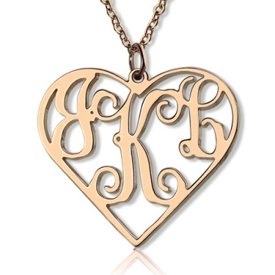 Solid Rose Gold 18ct Initial Monogram personalized Heart Necklace - Name My Jewelry ™