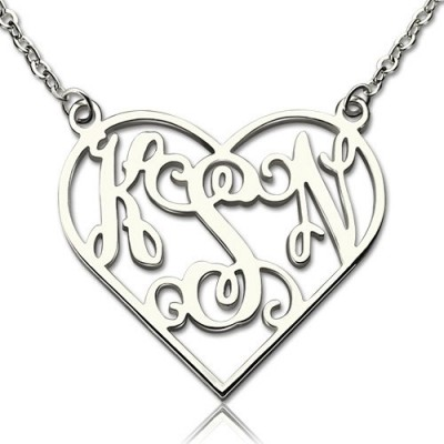 Heart Monogram Necklace Sterling Silver - Name My Jewelry ™