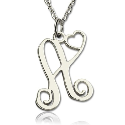 Custom One Initial With Heart Monogram Necklace Solid 18ct White Gold - Name My Jewelry ™
