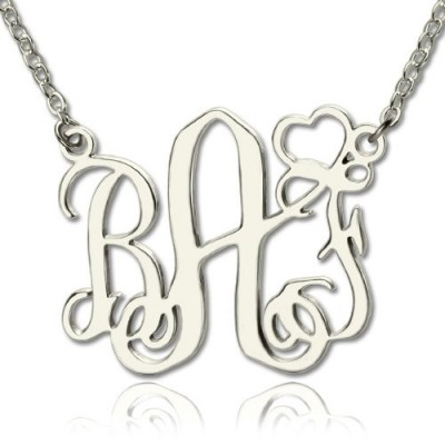 personalized Initial Monogram Necklace With Heart Srerling Silver - Name My Jewelry ™