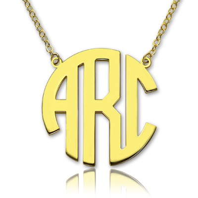 Solid Gold 18ct Initial Block Monogram Pendant Necklace - Name My Jewelry ™