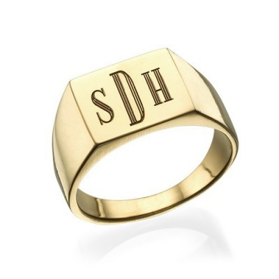 Monogrammed Signet Ring - 18ct Gold Plated - Name My Jewelry ™