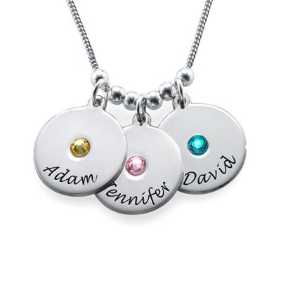 Mother's Disc and Birthstone Necklace  - Name My Jewelry ™