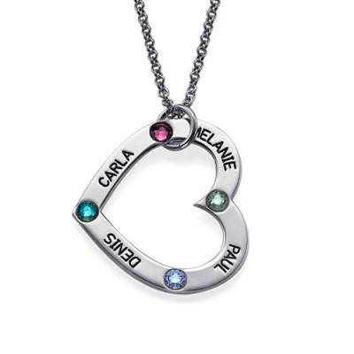 Mum's Birthstone Heart Necklace  - Name My Jewelry ™