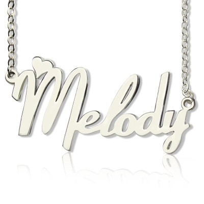 personalized 18ct White Gold Plated Fiolex Girls Fonts Heart Name Necklace - Name My Jewelry ™