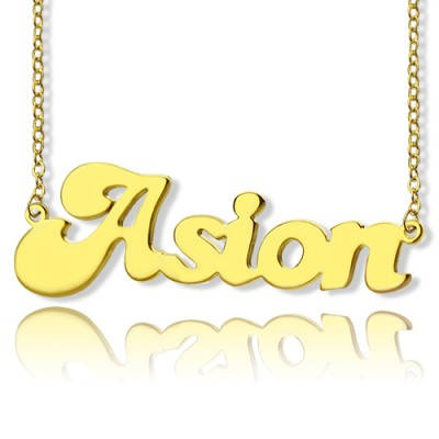 personalized 18ct Gold Plated BANANA Font Style Name Necklace - Name My Jewelry ™