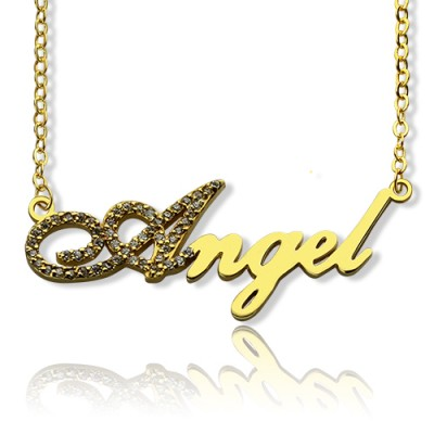 18ct Gold Plated Script Name Necklace-Initial Full Birthstone  - Name My Jewelry ™