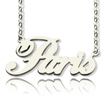 Paris Hilton Style Name Necklace 18ct Solid White Gold Plated - Name My Jewelry ™