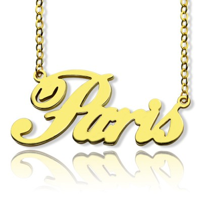 Paris Hilton Style Name Necklace 18ct Solid Gold - Name My Jewelry ™