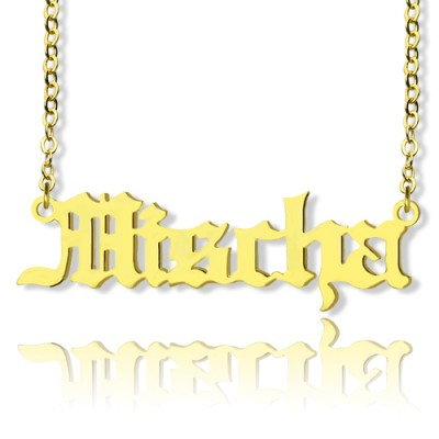 Mischa Barton Old English Font Name Necklace 18ct Gold Plated - Name My Jewelry ™