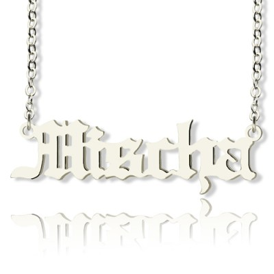 Mischa Barton Style Old English Font Name Necklace 18ct White Gold Plated - Name My Jewelry ™