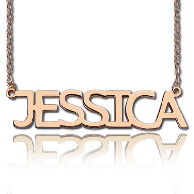 Solid Rose Gold Plated Jessica Style Name Necklace - Name My Jewelry ™