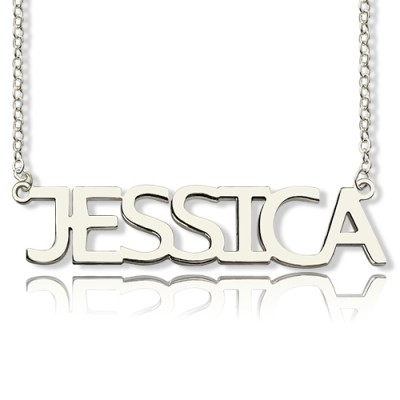 Solid White Gold Plated Jessica Style Name Necklace - Name My Jewelry ™