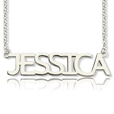 "Block Letter Name Necklace Silver - ""jessica"" - Name My Jewelry ™"