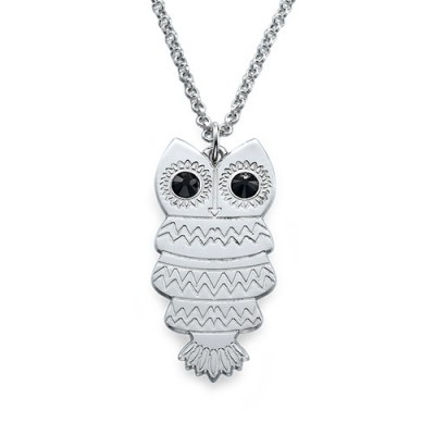 Owl Necklace with Back Engraving - Name My Jewelry ™