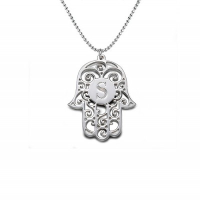 Silver personalized Initial Hamsa Necklace - Name My Jewelry ™
