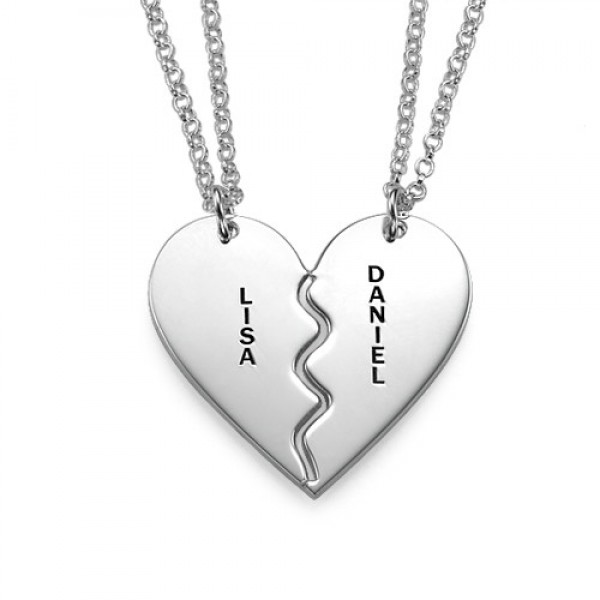 personalized Silver Breakable Heart Necklaces - Name My Jewelry ™