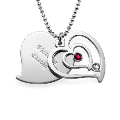 personalized Couples Birthstone Heart Necklace  - Name My Jewelry ™