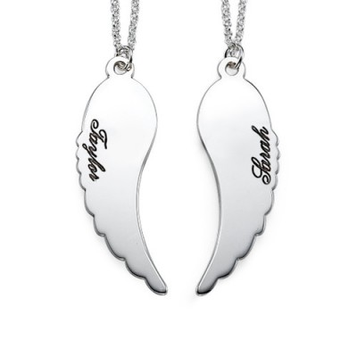 Set of Two Sterling Silver Angel Wings Necklace - Name My Jewelry ™