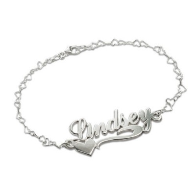 Side Heart Silver Name Bracelet/Anklet - Name My Jewelry ™