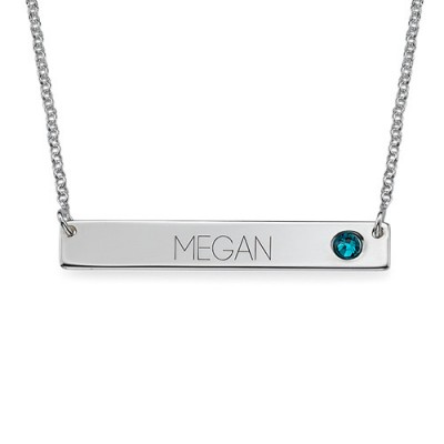 Silver Bar Necklace with Birthstone  - Name My Jewelry ™