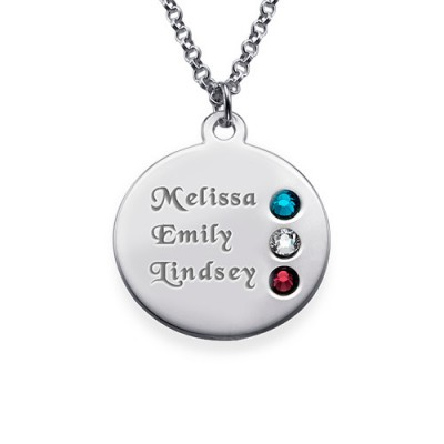 Silver Birthstone Necklace for Mum Inscriptions (1-3)  - Name My Jewelry ™