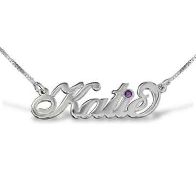"Silver ""Carrie"" Style Swarovski Name Necklace - Name My Jewelry ™"