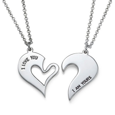 Silver Couples Breakable Heart Necklace - Name My Jewelry ™
