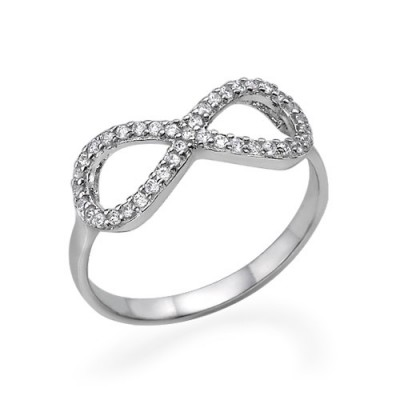 Silver Cubic Zirconia Encrusted Infinity Ring - Name My Jewelry ™