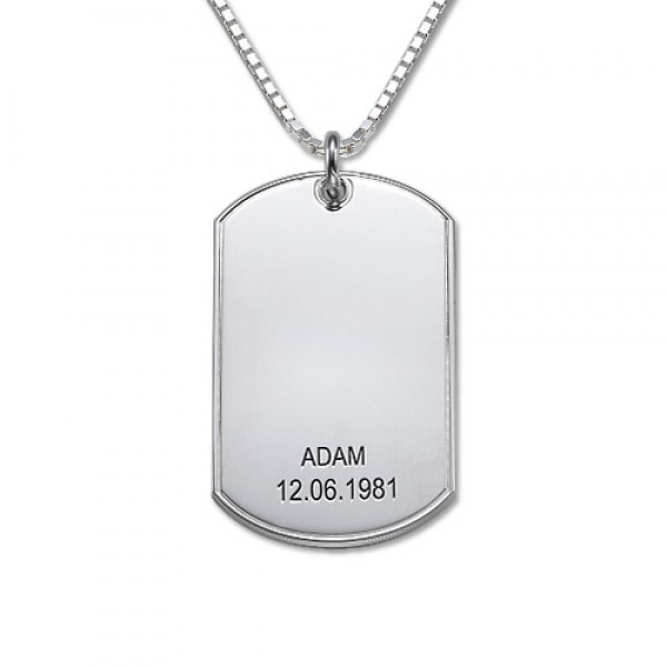 Silver Script Font Dog Tag Necklace - Name My Jewelry ™