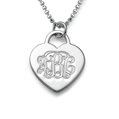 Silver Engraved Monogram Initials Heart Pendant - Name My Jewelry ™