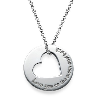 Silver Engraved Necklace with Heart Cut Out - Name My Jewelry ™