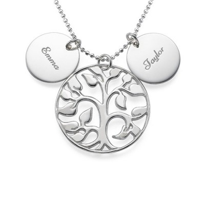 Engraved Disc Cut Out Family Tree Necklace - Name My Jewelry ™
