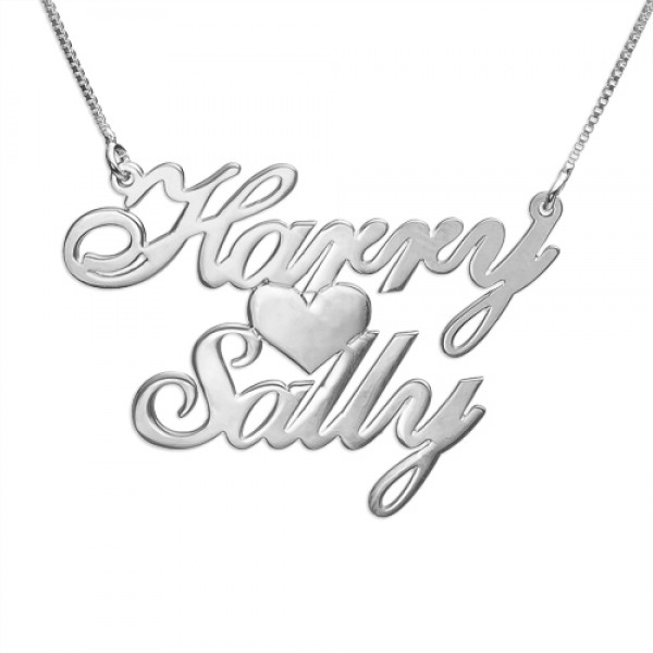 Silver Two Names Heart Love Necklace Name My Jewelry