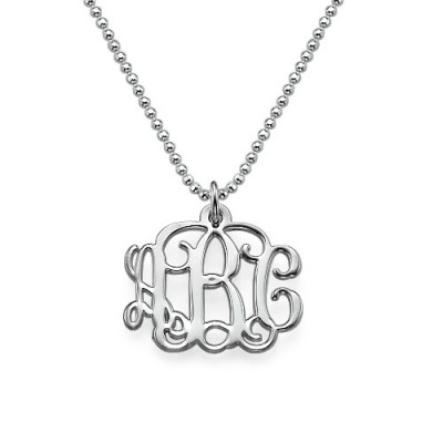 Small Silver Monogram Necklace - Smaller Version - Name My Jewelry ™